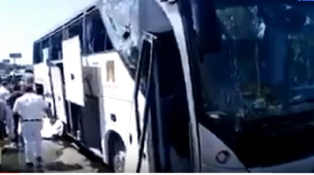 Tourist bus hit by explosion near Egypt museum at Giza Pyramids. [The AIO Entertainment/YouTube/Screencap]