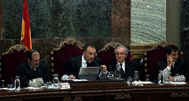 El Alto magistrado del Tribunal Supremo, Manuel Marchena, en la sala de lo Penal, en el juicio al al 1-Oct