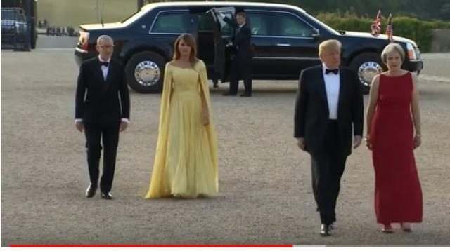 Trump arrives at Blenheim Palace in July 2018. [Image source/BBC News YouTube video]