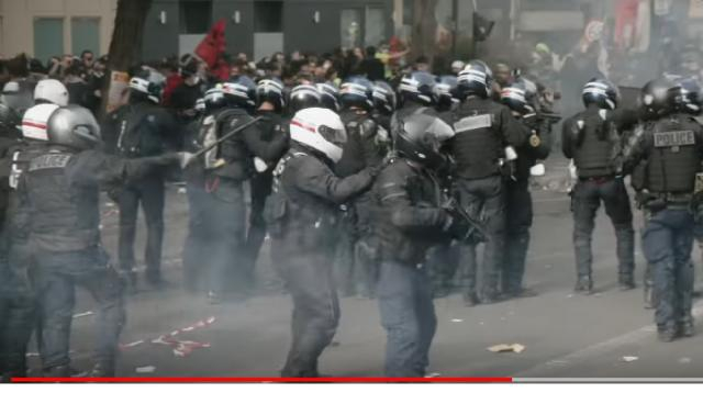 France's Yellow Vest protestors took to the streets for May Day. [Image source/VICE News YouTube video]