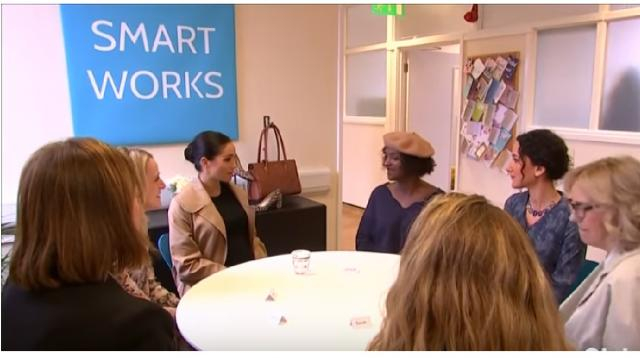 Meghan Markle empowers unemployed women at U.K. charity during royal patronage visit. [Image source/Global News YouTube video]