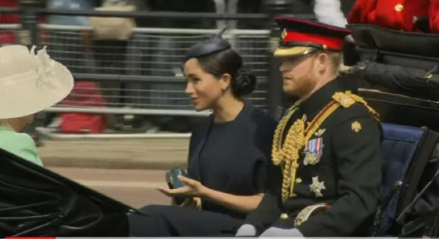 Meghan Markle attends Queen Elizabeth II's birthday. [Image source/VOA News YouTube video]