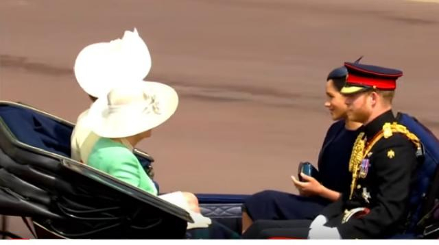 Meghan Markle on her way to trooping the colour ceremony. [Image source/Guardian News YouTube video]