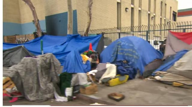 Homelessness at an all-time high in Los Angeles. [Image source/CBS Evening News YouTube video]