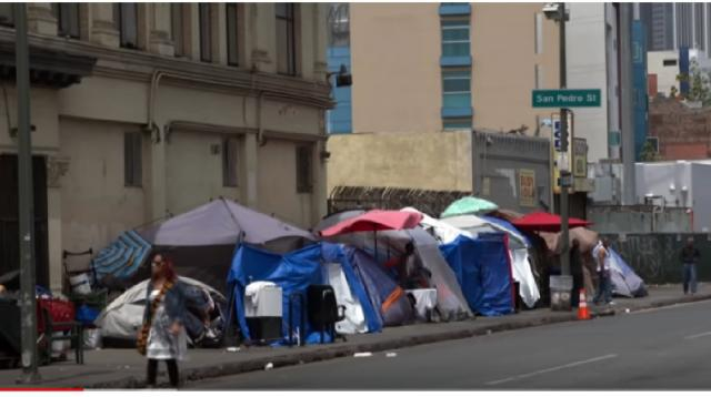 In LA, poverty on Skid Row defies US' humane reputation. [Image source/PBS NewsHour YouTube video]