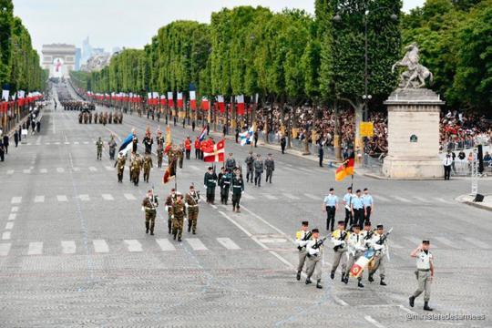 Conjunto de banderas de países aliados invitados por Francia a su fiesta nacional