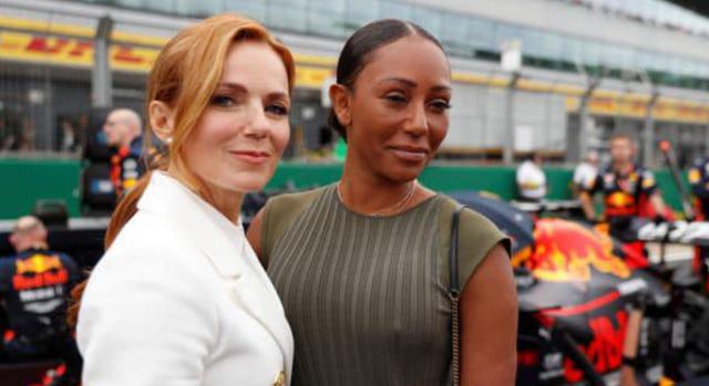 Geri Halliwell Horner e Mel B delle Spice Girls al Gran Premio di Silverstone in UK
