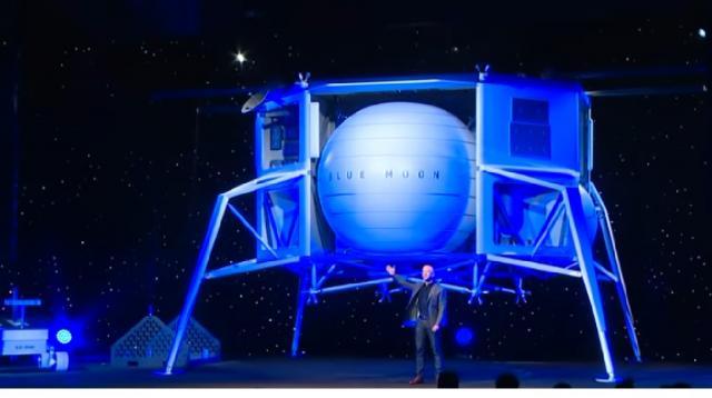 Jeff Bezos's space company unveils lunar lander. [Image source/ABC News YouTube video]