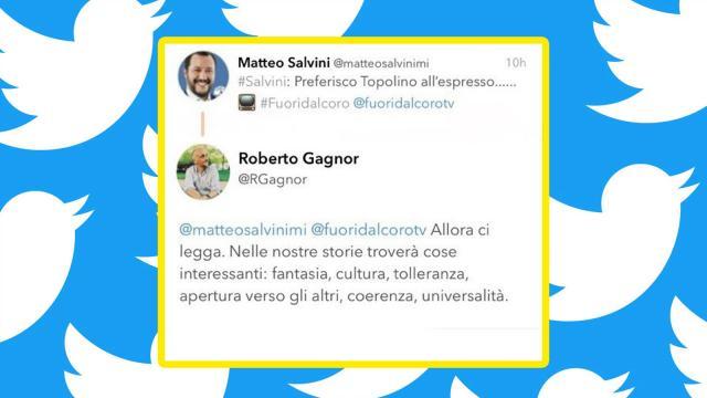 Il tweet di Roberto Gagnor in risposta a Matteo Salvini