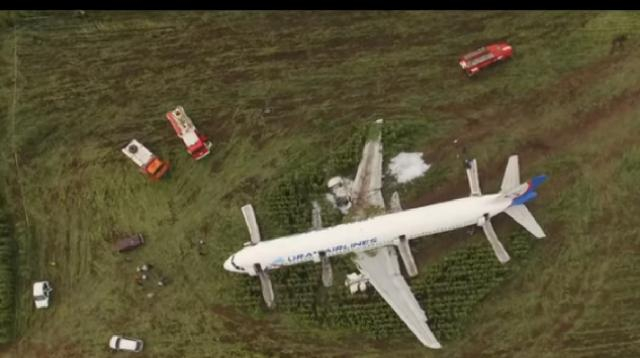 Emergency landing site of bird-stricken Ural Airlines plane. [Image source/RT YouTube video]