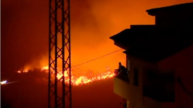 Wildfires rage through Gran Canaria. [Image Source: ITV News YouTube]