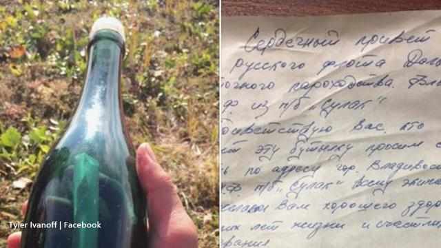 Alaskan finds fifty-year-old message in a bottle - Image credit - Tyler Ivanoff / Facebook