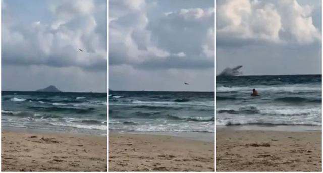 La escena del siniestro, el C-101 no puede recuperarse de un picado y se estrella contra el mar