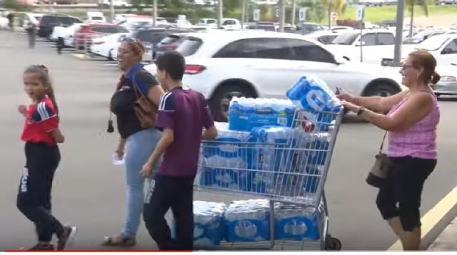 People in Puerto Rico prepare for Tropical Storm Dorian. [Image source/WPLG Local 10 YouTube video]