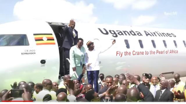 Inside Uganda Airlines Inaugural Flight to Jomo Kenyatta International Airport. [Image source/Ben – LIVE YouTube video]