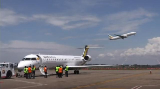 Uganda Airlines kick starts relaunch operations with Kenya trip. [Image source/africanews YouTube video]
