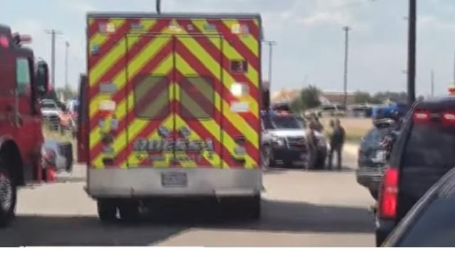 7 killed, many injured, suspect killed by police in West Texas. [Image source/CBS News YouTube video]