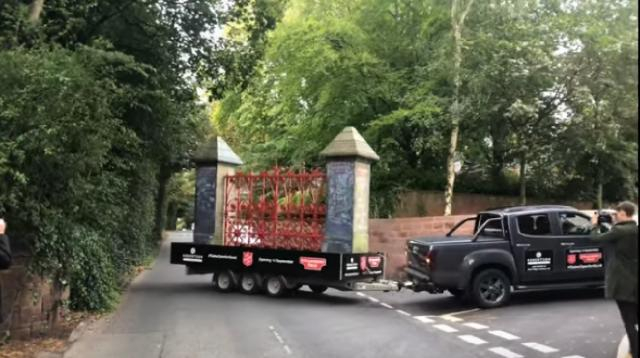 Gate for the new Strawberry field visitors centre. [Image source/paul frost YouTube video]