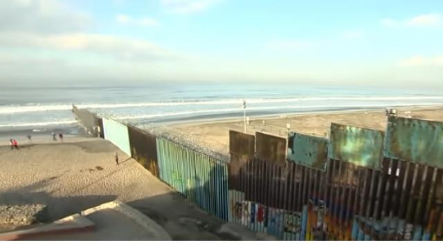 A section of the US-Mexico border wall. [Image source/ABC News YouTube video]