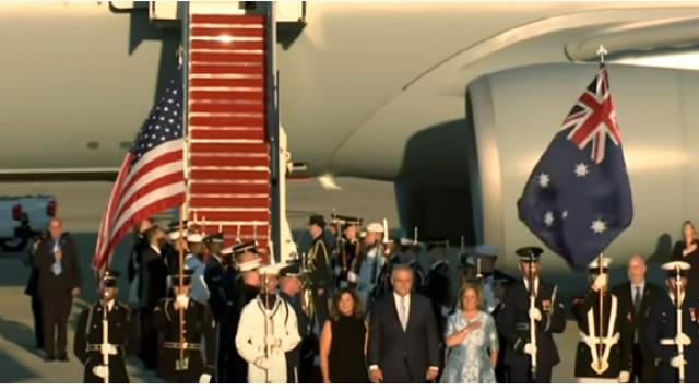 PM arrives to pomp and ceremony in Washington. [Image source/Sky News Australia YouTube video]