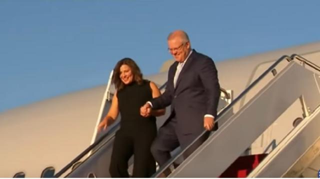 PM lands in U.S. vowing another 100 years of 'mateship.' [Image source/ Nine News Australia YouTube video]