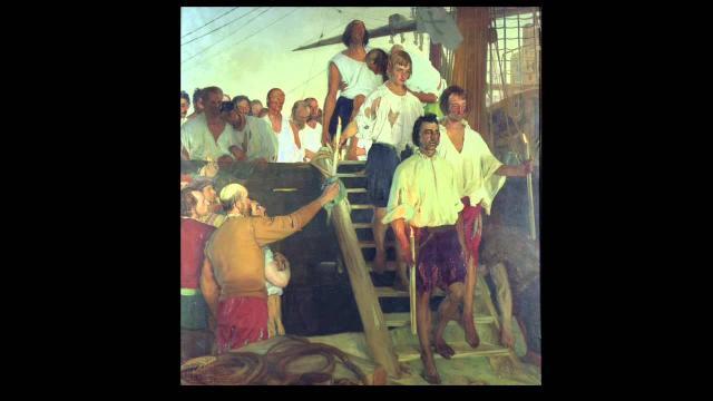 El impresionante lienzo de Elias Salaverria que muestra a los supervivientes de la travesía llegando a Sevilla