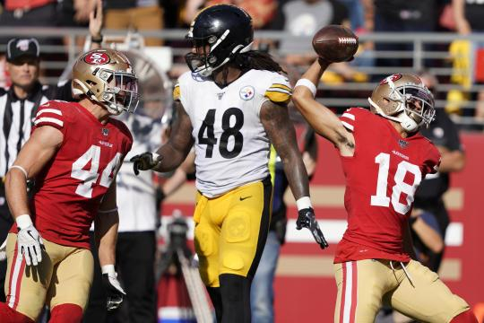 Los Niners evitaron un desastre y vencieron a los Steelers. www.washingtontimes.com