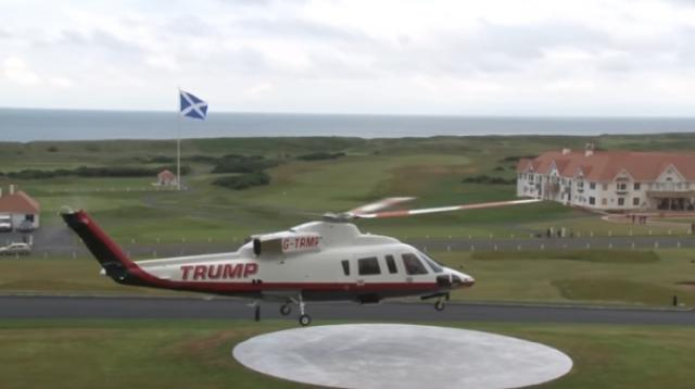 Donald Trump arrives at his golf course in Scotland in 2016. [Image source/Daily Mail YouTube video]