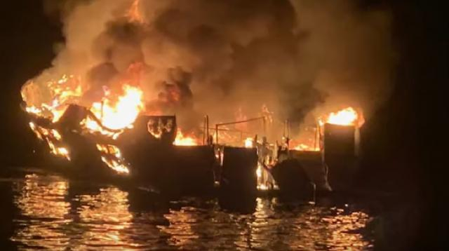 California boat fire kills at least 25 people. [Image source/Guardian News YouTube video]