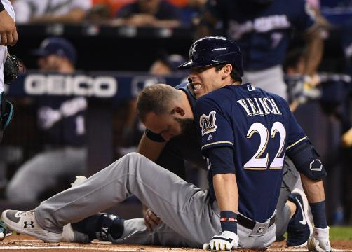 La lesión de Yelich no fue impedimento para que los Brewers llegaran a playoff. www.usatoday.com