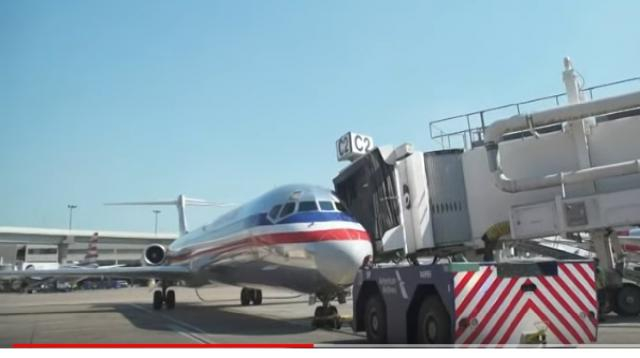 After a 36-year journey, American Airlines flew its final MD-80 to the boneyard. [Image source/WFAA YouTube video]