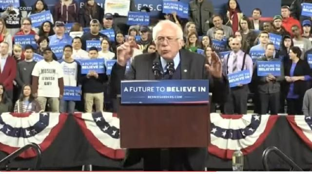 Bernie Sanders ramps up presence in Seattle. [Image source/King 5 You Tube video]