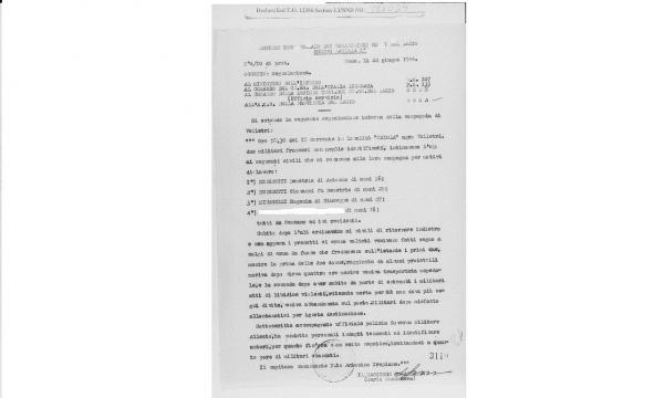 Il documento originale riportante la data 22 giugno 1944