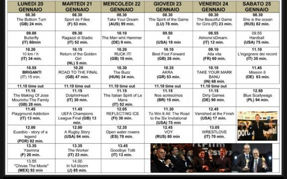 Programma delle proiezioni dello Sport Film Festival.