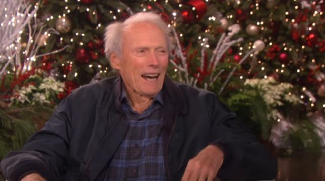 Clint Eastwood went to work despite a looming studio fire. [Image source/TheEllenShow YouTube video]