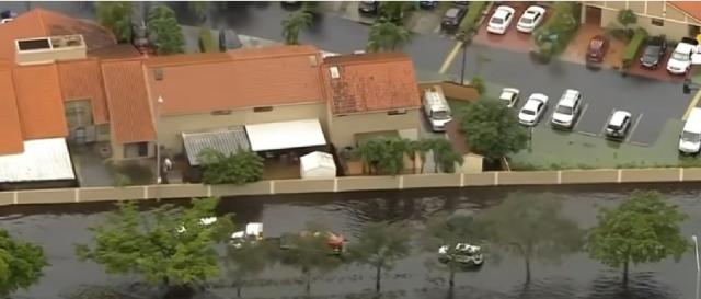 Aerial footage shows massive floods in Florida from tropical storm Eta. [Image source/NBC News YouTube video]