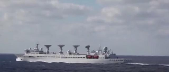 China space tracking ship sails for Chang'e-5 mission. [Image source/CGTN YouTube video]