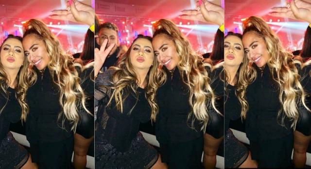 Em foto com amiga, Rafaella, irmã de Neymar, aparece com a barriguinha saliente. (Foto: Instagram).