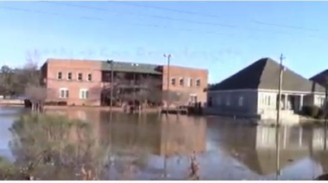 Jackson, Mississippi affected by Pearl River floods - February 15th, 2020. [Image source/SVLMedia YouTube video]