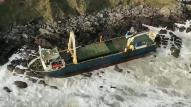 Ghost ship washes up on Irish coast after Storm Dennis. [Image source/Guardian News YouTube video]
