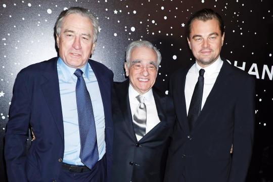 Leonardo DiCaprio y Robert de Niro, junto a Martin Scorsese.