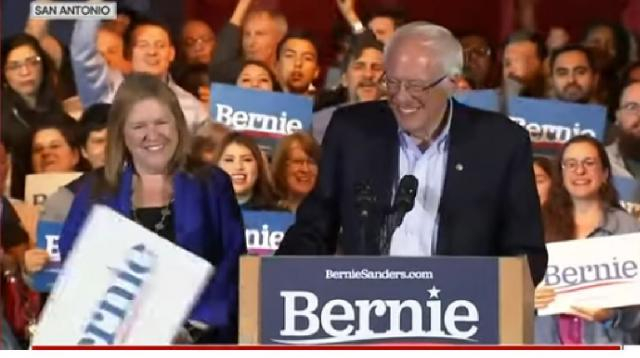 Bernie Sanders holds victory rally after winning Nevada caucuses. [Image source/CBS News YouTube video]