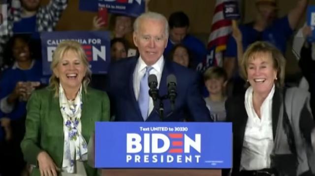 Joe Biden surges on Super Tuesday. [Image source/Washington Post YouTube video]