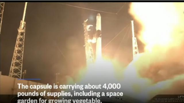 SpaceX launches last first-generation Dragon Capsule to ISS. [Image source/NBC News YouTube video]