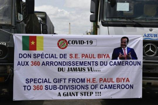 Le don du Chef de l'Etat Paul Biya le 28 avril 2020 (c) Minat