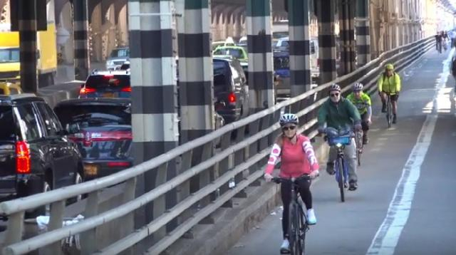 Using a bike for transport the best way to avoid the COVID-19 and lockdown. [Image source/Streetfilms YouTube video]