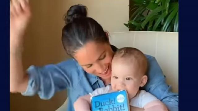 Meghan Markle reads Archie a story as he celebrates first birthday. [Image source/The Telegraph YouTube video]