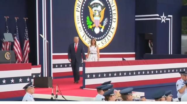 President Trump holds July 4 celebration at White House. [Image source/CBS Evening News YouTube video]