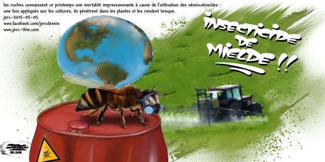 Les néonicotinoïdes exterminent les abeilles : dessin de JERC du mardi 5 mai 2015 caricature abeille : les ... - blogg.org