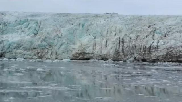 A new climate: melting ice of Greenland. [Image source/Sky New YouTube video]